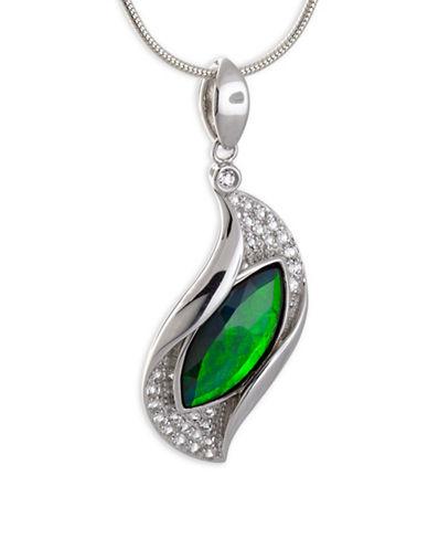 Korite Marquise Ammolite Rhodium-Plated Sterling Silver Pendant-AMMOLITE-One Size