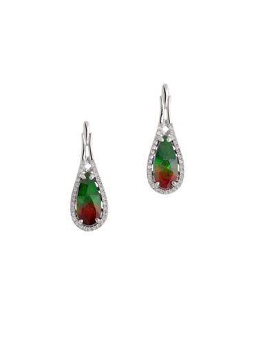 Korite Ammolite, Silver and White Topaz Earrings-AMMOLITE-One Size