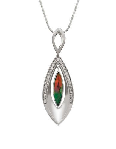 Korite White Sapphire, Ammolite Rhodium-Plated Sterling Silver Pendant-AMMOLITE-One Size