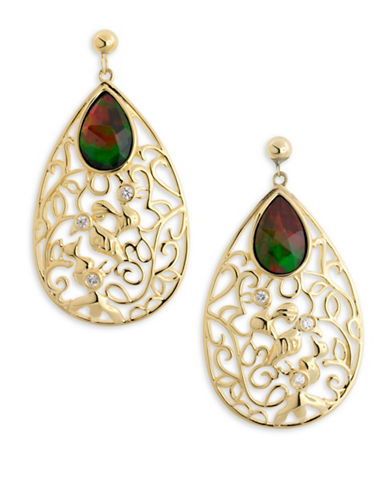 Korite 14K Gold-Plated Sterling Silver, Ammolite and White Sapphire Earrings-AMMOLITE-One Size