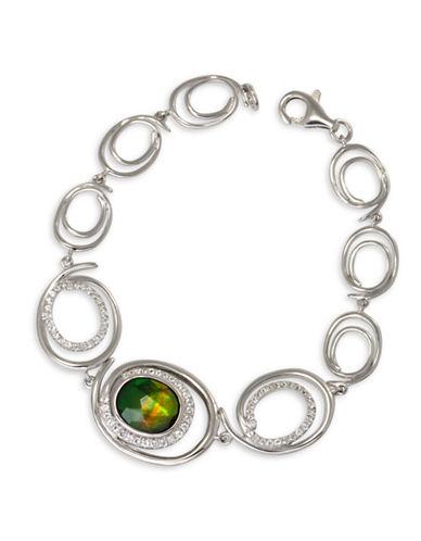 Korite Rhodium-Plated Sterling Silver Oval Ammolite Bracelet-AMMOLITE-One Size