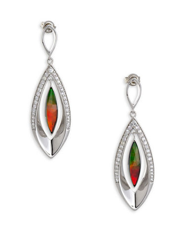 Korite Sterling Silver, Ammolite and White Sapphire Earrings-AMMOLITE-One Size