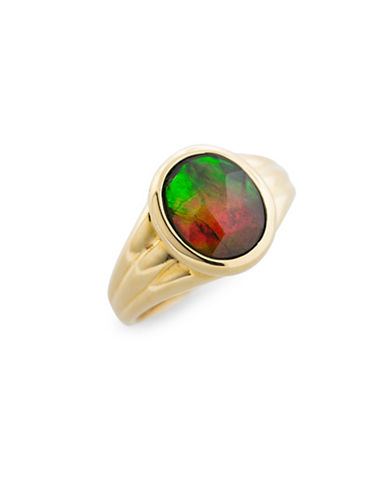 Korite 14K Yellow Gold and Ammolite Ring-AMMOLITE-8