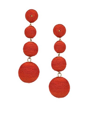 Kenneth Jay Lane Carnival Goldplated Wrapped Ball Drop Earrings-CORAL-One Size