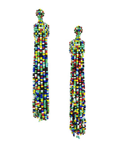 Kenneth Jay Lane Beaded Tassel Drop Earrings-MUTLI-One Size
