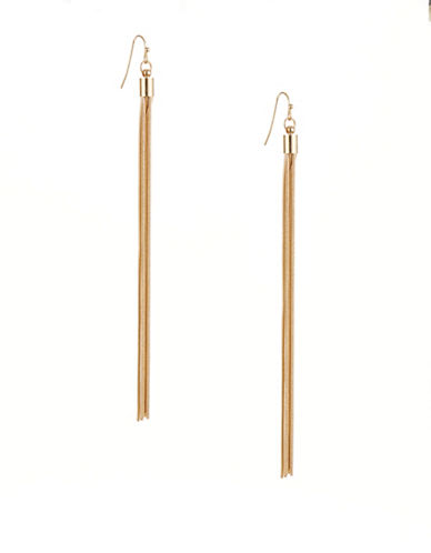 Kenneth Jay Lane Long Tassel Drop Earrings-GOLD-One Size