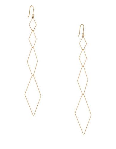 Kenneth Jay Lane Multi-Diamond Drop Earrings-GOLD-One Size