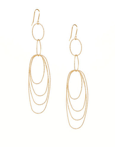 Kenneth Jay Lane Multi-Oval Drop Earrings-GOLD-One Size