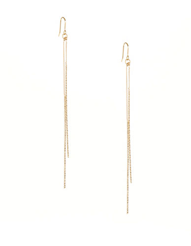 Kenneth Jay Lane Double Bar Drop Earrings-GOLD-One Size