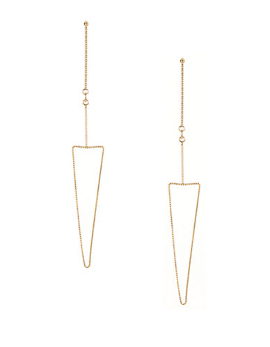 Kenneth Jay Lane Triangle Drop Post Earrings-GOLD-One Size