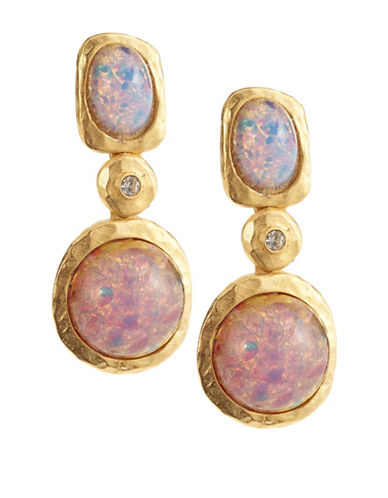 Kenneth Jay Lane Pink Opal Link Drop Earrings-PINK-One Size
