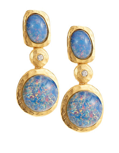 Kenneth Jay Lane Blue Opal Link Drop Earrings-BLUE-One Size