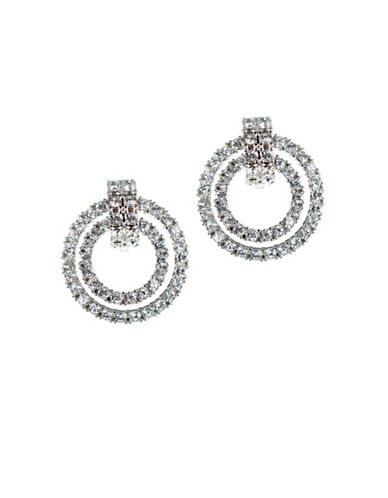 Kenneth Jay Lane Silvertone Double Doorknocker Earrings-WHITE-One Size