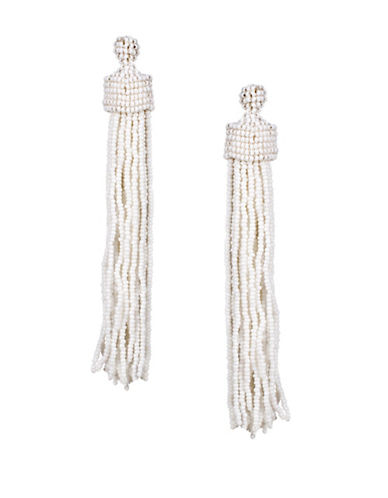 Kenneth Jay Lane Beaded Tassel Drop Earrings-WHITE-One Size