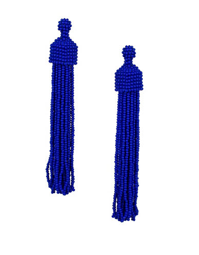 Kenneth Jay Lane Beaded Tassel Drop Earrings-BLUE-One Size