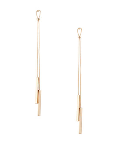 Kenneth Jay Lane Loop Top Bar Tassel Earrings-GOLD-One Size