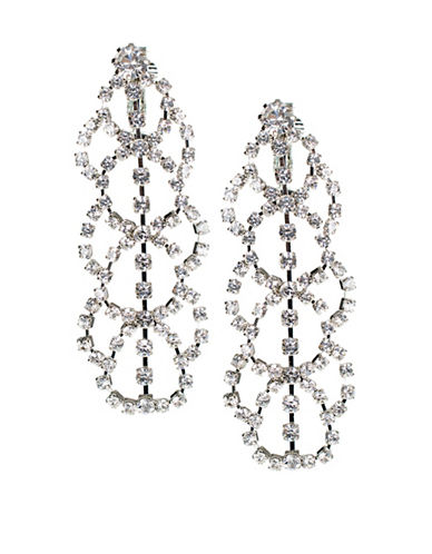 Kenneth Jay Lane Silvertone Drop Earrings-WHITE-One Size