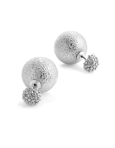Kenneth Jay Lane Textured Front-to-Back Earrings-SILVER-One Size