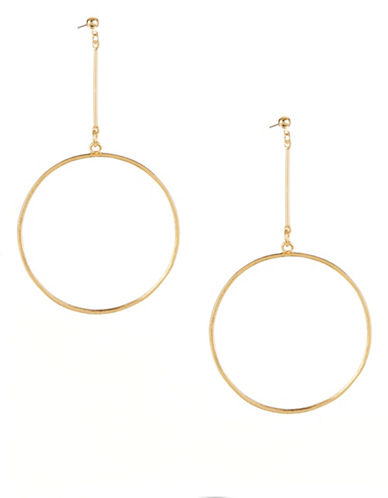 Kenneth Jay Lane Large Circle Drop Post Earrings-GOLD-One Size