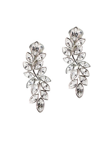 Kenneth Jay Lane Silvertone Leaf Drop Earrings-SILVER-One Size