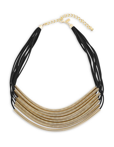Kenneth Jay Lane Eight Row Leather Coil Necklace-BLACK/GOLD-One Size