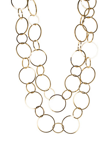 Kenneth Jay Lane Two-Tone Polished Gold Electroplated Two-Row Necklace-GOLD-One Size
