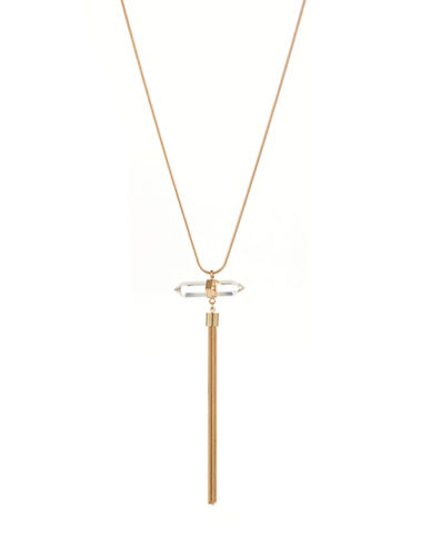Kenneth Jay Lane Crystal Tassel Pendant Necklace-GOLD-One Size