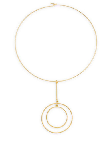 Kenneth Jay Lane Drop Double-Circle Choker Necklace-GOLD-One Size