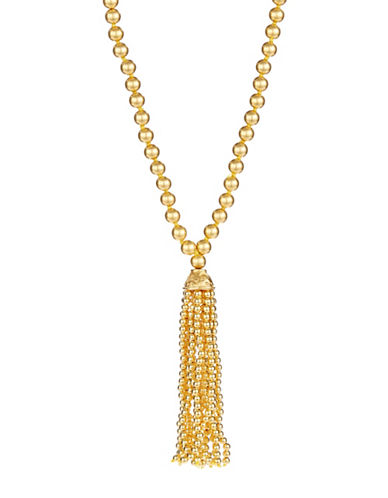 Kenneth Jay Lane Beaded Tassel Necklace-GOLD-One Size