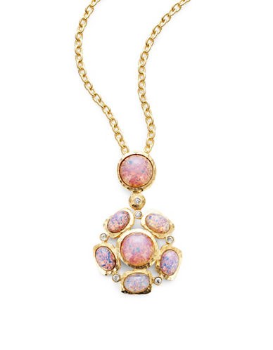 Kenneth Jay Lane Pink Opal Pendant Necklace-PINK-One Size
