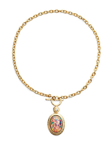 Kenneth Jay Lane Opal Pendant Toggle Necklace-PINK-One Size