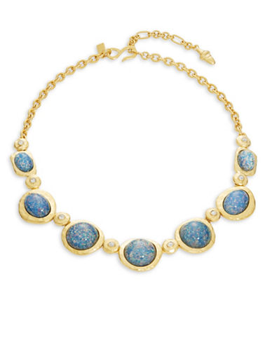 Kenneth Jay Lane Cabochon Link Necklace-BLUE-One Size