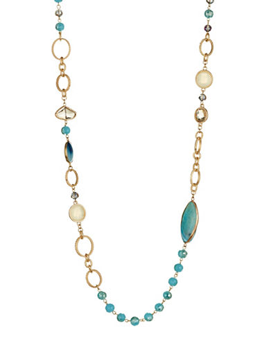 Kenneth Jay Lane Aqua Beaded Station Necklace-BLUE-One Size