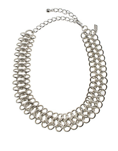 Kenneth Jay Lane Chainmail Choker Necklace-SILVER-One Size