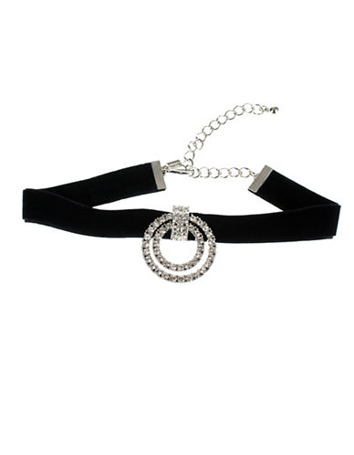 Kenneth Jay Lane Silvertone Velvet Choker Necklace-BLACK-One Size