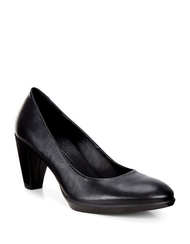 Ecco Shape 55 Plateau Leather Court Shoes-BLACK-EUR 37/US 7