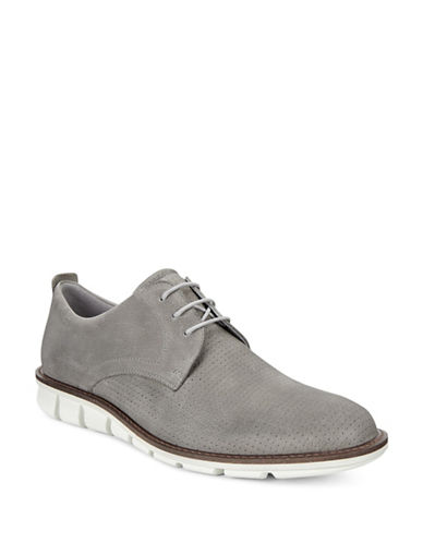 Ecco Jeremey Perforated Leather Derby Shoes-WHITE-EU 44/US 11