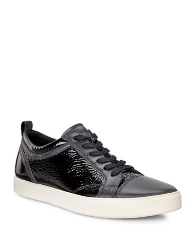 Ecco Gillian Low-Top Leather Sneakers-BLACK-EUR 41/US 11