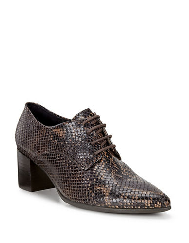 Ecco Shape 45 Printed Leather Oxford Pumps-COFFEE-EUR 38/US 8