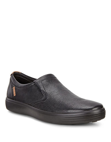 Ecco Soft 7 Leather Slip-On Sneakers-BLACK-EU 40/US 7