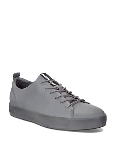 Ecco Soft 8 Low-Top Leather Sneakers-GREY-EU 41/US 8