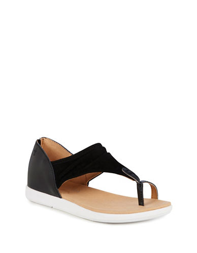 Emu Australia Yarra Leather and Suede Sandals-BLACK-7