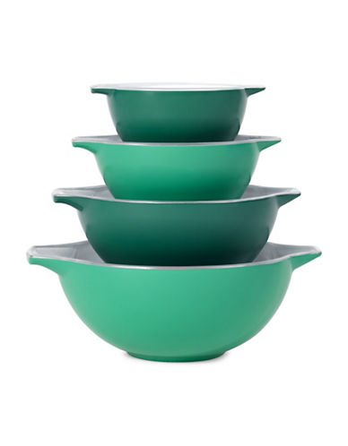 Creo Smartglass Four-Piece Nesting Bowl Set-GREEN-One Size