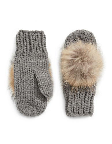 Linda Richards Wool Mittens with Fur Pom Pom-CHARCOAL-One Size