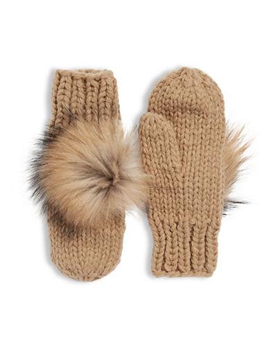 Linda Richards Wool Mittens with Fur Pom Pom-CAMEL-One Size