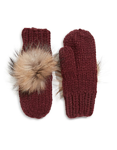 Linda Richards Wool Mittens with Fur Pom Pom-WINE-One Size