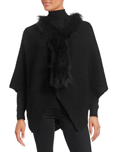 Linda Richards Wool Ruana with Raccoon Fur-BLACK-One Size