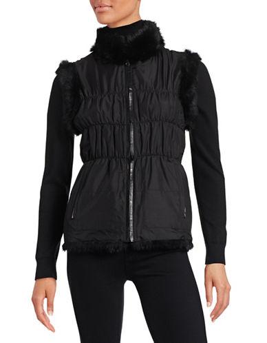Linda Richards Reversible Vest with Rex Rabbit Fur-BLACK-Medium