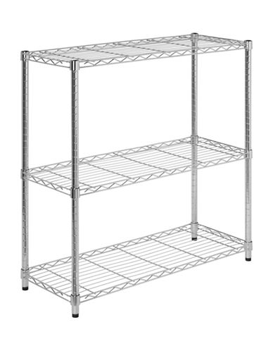Honey Can Do Three-Tier Adjustable Steel Storage Shelving Unit-CHROME-One Size