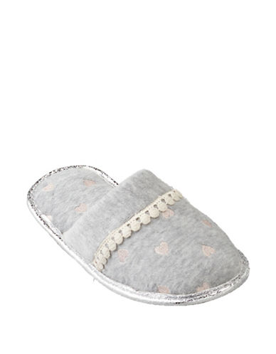 Pretty You London Heart-Embroidered Slippers 89854522